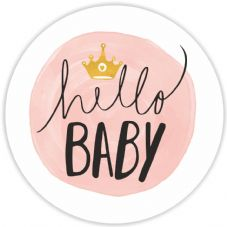 Baby shower Stickers - Hello Baby - Pink 37mm Round Matt Paper